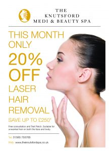 Hair removal offer, The Knutsford Spa, February 2017